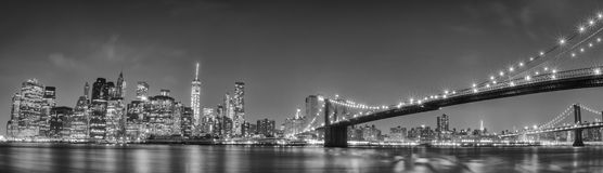 New York manhattan bridge night view Royalty Free Stock Images