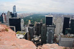 New York, Manhattan, Central Park aerial view from a cliff Stock Images