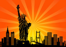 New York Manhattan City Skyline. And Statue of Liberty Illustration Royalty Free Stock Photo