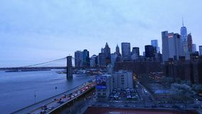 New York - Manhattan downtown skyline in the evening. Video clip stock video footage