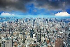 New York Manhattan flyg- sikt från en World Trade Center Fotografering för Bildbyråer