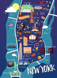 New York Manhattan Illustration Map Stock Image