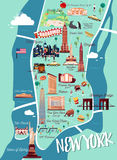 New York Manhattan Illustration Map.  Royalty Free Stock Images