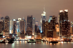 New York Manhattan na noite Foto de Stock