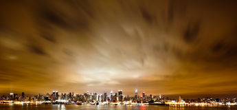 New York Manhattan at Night Stock Photo