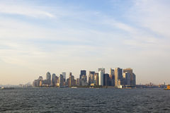 New york: manhattan skyline at dusk Royalty Free Stock Photo