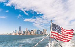 New York - Manhattan skyline from Hudson river with American Fla Royalty Free Stock Image