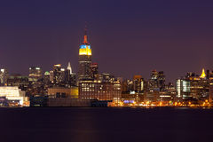 New York - Manhattan Skyline by night Royalty Free Stock Image