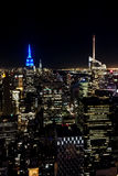 New York Manhattan skyline at night view skyscraper blue light Stock Photography