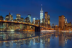 New York - Manhattan Skyline with skyscrapers and Brooklin Bridg Royalty Free Stock Photography