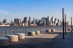 New York - Manhattan skyline view from Hoboken waterfront. USA stock photo