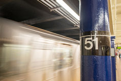New York - Manhattan Subway. 51 street station interior with tra Royalty Free Stock Photos