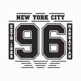 New York, Manhattan typography. T-shirt graphics Stock Images