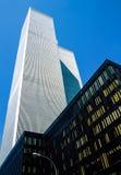 New York. Manhattan, upward view of the Twin Towers royalty free stock photo
