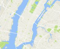 New York and Manhattan urban city vector map. New york urban city map, nyc and manhattan cartography illustration Royalty Free Stock Image