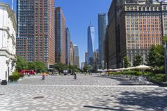 New York, Manhattan. View from Battery Park along Little West St Stock Image
