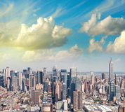 New York. Manhattan view from helicopter with city tall skyscrap Stock Images