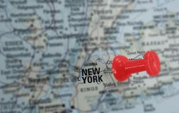 New York map. Closeup of a red push pin in a map of New York City Stock Image