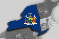 New York map and flag Stock Photos