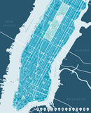 New York Map - Lower and Mid Manhattan. Royalty Free Stock Images