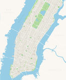 New York Map - Lower and Mid Manhattan. Highly detailed vector map of Lower and Mid Manhattan in New York including all streets, parks, names of sub districts Stock Photo