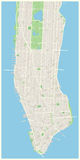 New York Map - Lower and Mid Manhattan. Royalty Free Stock Photos