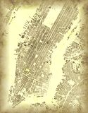 New York map, satellite view, Usa. Old map of Manhattan stock illustration