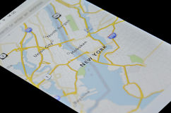 New York map on smartphone. New york map represented on the screen of smartphone royalty free stock image