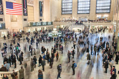 New York - March 21, 2013: Time lapse photo of commuters in moti Royalty Free Stock Photography