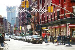 NEW YORK - MARCH 21, 2015: `Welcome to Little Italy` sign in Italian community named Little Italy in downtown Manhattan, New Yor. K City, USA royalty free stock photography