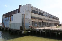 Abandoned Fulton Fish Market on South Street Seaport in Manhattan stock photos