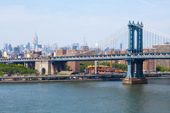 New York - May 26, 2016: Manhattan Bridge and the New York skyline view from the Brooklyn bridge royalty free stock photography