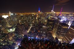 New York skyline at night. Top of the Rock view. royalty free stock photo