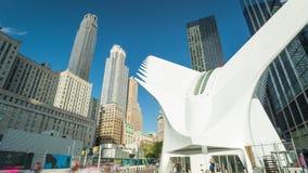 NEW YORK -, MAY 2018: timelapse av Oculus, WTC-trans.nav på Manhattan i NYC, 911 lager videofilmer