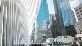New York - May, 2018: timelapse of Oculus, WTC transportation hub on Manhattan in NYC, 911. New York - May, 2018: timelapse of Oculus, WTC transportation hub on stock footage