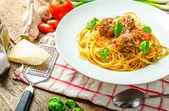 New York meatballs pasta Royalty Free Stock Images