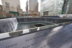 New York 9/11 Memorial at World Trade Center Ground Zero. NEW YORK CITY - MARCH 31: New York 9/11 Memorial at World Trade Center Ground Zero on March 31, 2014 stock photography