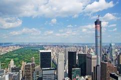 New York: mening van de horizon en het Central Park van Manhattan vanaf de Bovenkant van de Rots op 16 September, 2014 Royalty-vrije Stock Fotografie
