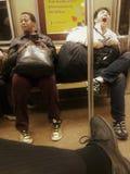 New York metro diversity and boredom. New York subway diversity and boredom close to Hudson Yards in Manhattan New York City Stock Image