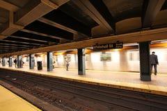 New York metro, USA. New York metro station train pessengers. USA, December 2015 royalty free stock images