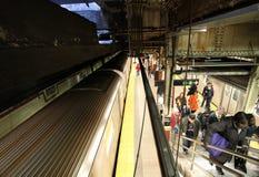 New York metro, USA. New York metro station train pessengers. USA, December 2015 stock photos