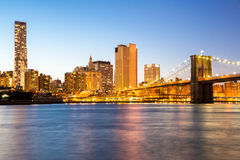 New York mid town with Brooklyn bridge Royalty Free Stock Image