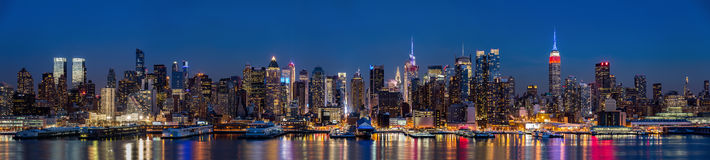 New York midtown panorama at dusk Royalty Free Stock Photos