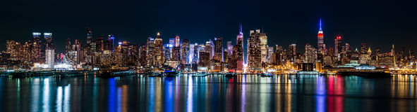 New York midtown panorama by night Royalty Free Stock Image