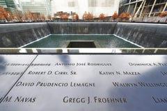 New York 9/11 minnesmärke på World Trade Centerground zero Arkivfoton