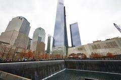 New York 9/11 minnesmärke på World Trade Centerground zero Royaltyfria Bilder