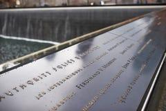 New York 9/11 minnesmärke på World Trade Centerground zero Royaltyfria Foton