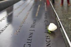 New York 9/11 minnesmärke på World Trade Centerground zero Royaltyfri Fotografi