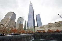 New York 9/11 minnesmärke på World Trade Centerground zero Royaltyfri Foto