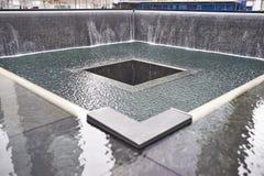 New York 9/11 minnesmärke på World Trade Centerground zero Arkivbilder